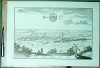 Göttingen alte Ansicht Merian Druck Stich 1574 Panorama (schw)