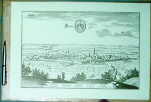 Göttingen alte Ansicht Merian Druck Stich 1574 Panorama (sw) Niedersachsen Stadt