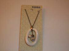 Fossil Jewelry Stainless Steel White Ceramic Pendant Silver tone Necklace #212