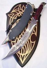 Lord Of The Rings Elven Knife of Strider with Leather Scabbard & Wall Plaque