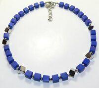 Halskette Kette Würfelkette Würfel Lapislazuli Schmuckstein silber blau  262i