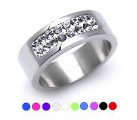Tribal Spirit Steel Ring Edelstahl  Swarovski Elements Kristalle schmuckrausch