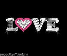 Love hot fix iron on rhinestone transfer motiff wedding hen valentine