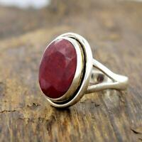 Natural Red Ruby Gemstone 925 Sterling Silver Birthstone Gift Ring Jewelry