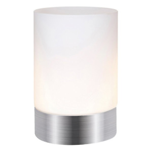 Contemporary Small Brushed Silver Touch Dimmable Table Lamp by Happy Homewares