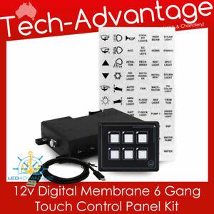12v Boat Motorhome Caravan 6 Gang LED Backlit Touch MOMENTARY Switch Panel Kit