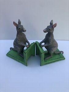 Kangaroo On Green Base Cast Iron Book Ends