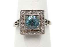 18K WHITE GOLD BLUE ZIRCON AND .20 CTW DIAMOND COCKTAIL RING SIZE 5-3/4- #443B-3