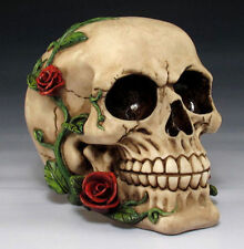 ROMANTIC LOVE SKULL WITH ROSES  SKELETON HEAD FIGURINE STATUE  HALLOWEEN