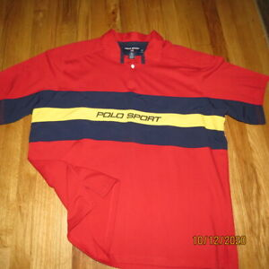 Ralph Lauren Mens Polo Sport Red w/Blue Yellow Stripes Size XL Pre-Owned Nice!