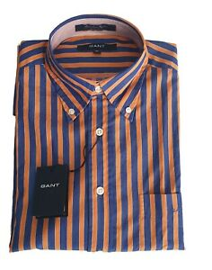 Gant 356200 Camicia Rigata in Cotone Uomo Arancio Regular | -50 % OCCASIONE |