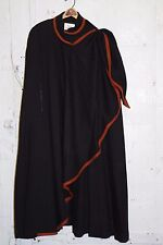 CEST SIMONE Black Wool Crepe Long Cape Coat EUC w/ Shawl EUC Burgundy Trim LG
