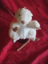 Folkmanis-White-Mouse/Rat w/ Pink Scarf-Full-Body-Hand-Puppet-Plush-Pretend 6""