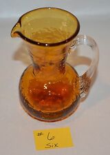 VINTAGE AMBER HANDBLOWN PILGRIM GLASS PITCHER 1 OF 6 TO CHOOSE FROM BEAUTIFUL #6