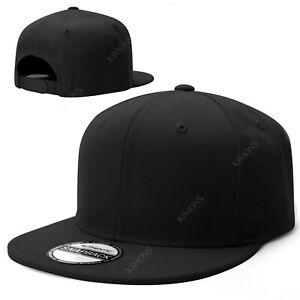 Snapback Hat Flat Baseball Cap Trucker Solid Plain Blank Men Hip Hop Adjustable