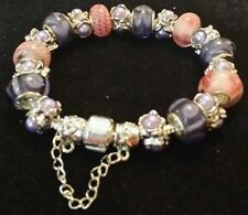 European Charm Bracelet Pink Purple Murano beads Pearl Bead Charms 7.5""