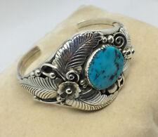 AMAZING~Native-Navajo-PHIL CHAPO-Sterling Silver-Stone Floral Bracelet-Cuff #544