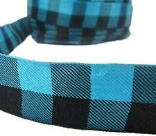 "5 Yds Lodge Mountain Cabin Plaid Turquoise Teal Blue Black Ribbon 1 1/2""W"