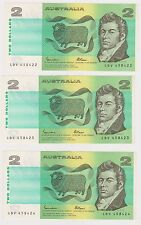 (N6-16) 1989 AU 5x $2.00 bank notes in sequence (M)