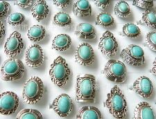bulk lots mixed 20pcs natural turquoise tribal women vintage silver rings adjust