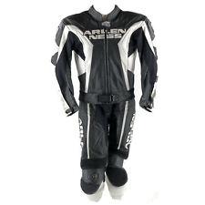 Arlen Ness Lederkombi Gr. 50 Zweiteiler Motorradkombi Leather Suit Schwarz Weiß