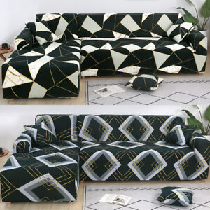 2pcs Sofa Cover Fabric Stretch Couch Slipcovers for LShape Sectional Corner Sofa