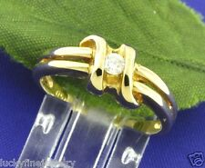 0.11ct 14k Yellow Gold Natural Diamond Solitaire Ring 3.6 Grams April Birthstone