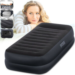 Intex Fiber-Tech Twin Size Raised Inflatable Airbed Mattress with Electric Pump