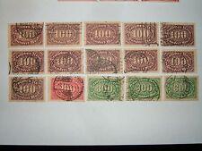 1922-23 Alemania Impresión en Offset wmk Pastillas sellos X 15 VFU (sg230/2) CV £ 33