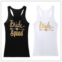 Fashion Women Summer Sleeveless Vest Top Tank Shirt Blouse Bride Squad T-Shirt