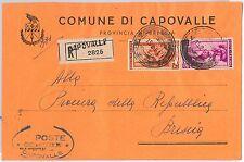 REPUBBLICA - Storia Postale: ANNULLO MUTO EMERGENZA su BUSTA da  CAPOVALLE 1951