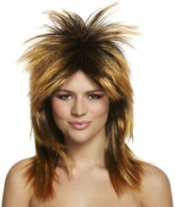 Adult Ladies 80s Tina Turner Wig Fancy Dress Rock Diva Pop Star Mullet Accessory