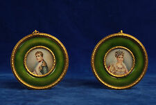 Pair of 19th C. Miniature Portraits of Napolean and Josephine- Guilloche Enamel