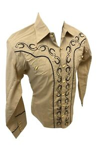 Men RODEO WESTERN COUNTRY KHAKI BLACK STITCH TRIBAL BUTTON UP Shirt Cowboy 05500