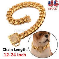 US 18-24'' Gold Stainless Steel Curb Chain Pet Dog Choker Collar Rottweiler