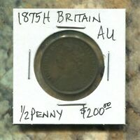 GREAT BRITAIN - FANTASTIC HISTORICAL QV BRONZE HALF PENNY, 1875 H, KM# 754
