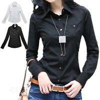 Office Shirt Long Sleeve formal cotton Womens Blouse Business Top Size tata