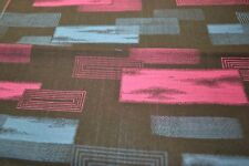 Japanese Woollen Fabric - Black with pink and blue rectangle print 794