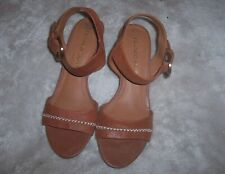 Franco Sarto Soft Leather Brown Cognac Wedge Ankle Strap Sandals  Size 7