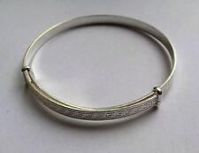 Señoras plata esterlina Expansible patrón de clave griego Brazalete 5.6g