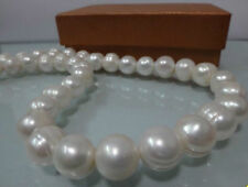 """HUGE 13-15MM NATURAL SOUTH SEA WHITE BAROQUE PEARL NECKLACE 18"""" JN794"""