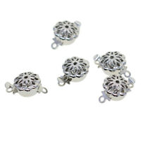 COMPLETE 2-Strand Square .925 STERLING SILVER Filigree Clasps Beautiful 2 TWO