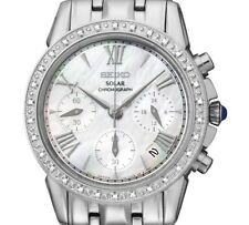 PRE-OWNED $575 Seiko Women's  Stainless Steel Diamond Accented Watch SSC893
