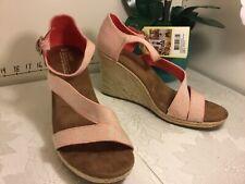 cfef4297f56 Toms women Clarissa Linen Cork Wedge Heel Buckle Sandals pink white sz 12  new k6