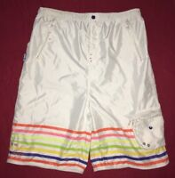 AKADEMIKS Jeanius Level White 3XL Mens Swim Trunks Full Lined 8 Pockets