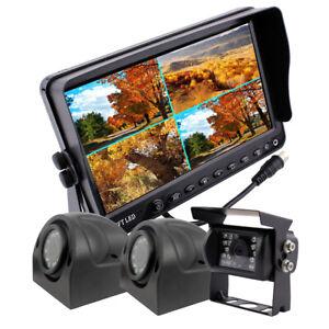 "Caravan Truck Van Rear View Reversing Backup & Side Camera + 9"" Quad Monitor Kit"