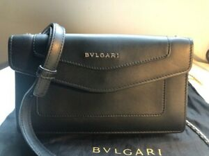 New Bulgari Authatic Small Claf Leather Crossbody Bag, Made In Italy