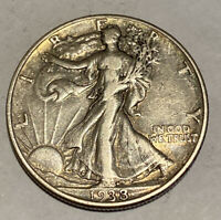 KEY DATE! XF 1938-D  Walking Liberty Half Dollar -Attractive Coin, Rare Mintage!