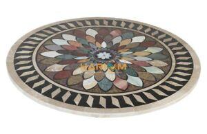 "36"" Black Marble Dining Table Top Multi Stone Mosaic Inlay Interior Decors B069"