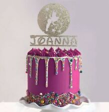 Tinkerbell Inspired personalised Glitter Card Birthday cake topper Disney
